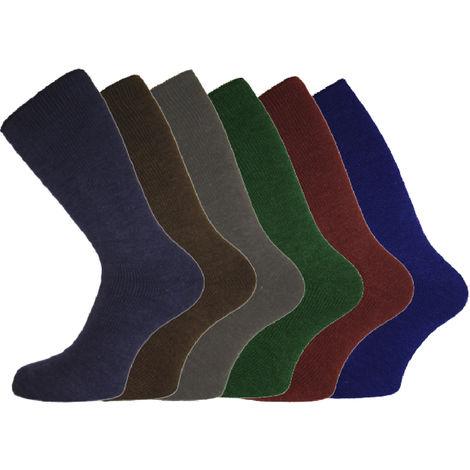 6 Pack Of Mens Stonewashed SHORT Thermal Boot Shoe Socks, Stonewash, UK 6-11 Eur 39-45,