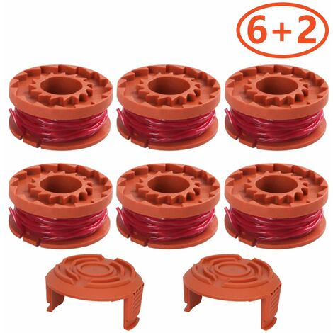 6 Pack With 2 covers Can be used to replace lawnmower spools for WORX thread Trimmers spools for improved cutting speed