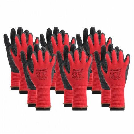 6 paires de gants de manutention générale EASY GRIP rouge KAPRIOL - plusieurs modèles disponibles
