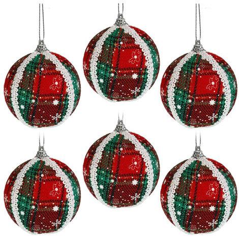 Palline Di Natale Immagini.6 Palline Di Natale In Tessuto Decorazione Scozzese Da Appendere Sull Albero