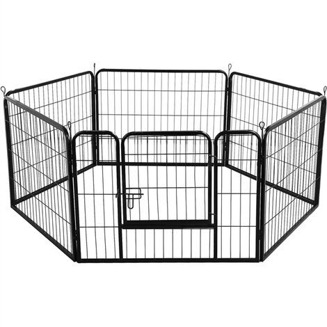 6 Panel Foldable Pet Play Pen Puppy Dog Animal Cage Run Garden Fence Black
