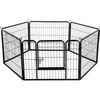 6 Panel Foldable Pet Play Pen Puppy Dog Animal Cage Run Garden Fence Black