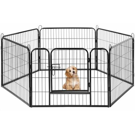 6 Panel Playpen Suitable for Rabbits/Guineas/Dogs and Cats,Pet Dog Puppy Playpen Training Whelping Cage Crate Run Enclosure Metal Hammered Silver