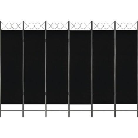 6-Panel Room Divider Black 240x180 cm