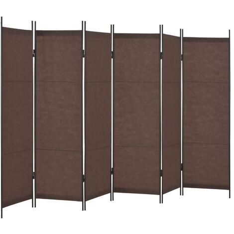 6-Panel Room Divider Brown 300x180 cm