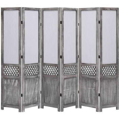 6-Panel Room Divider Grey 210x165 cm Fabric