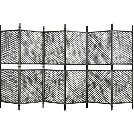 6-Panel Room Divider Poly Rattan Anthracite 360x200 cm