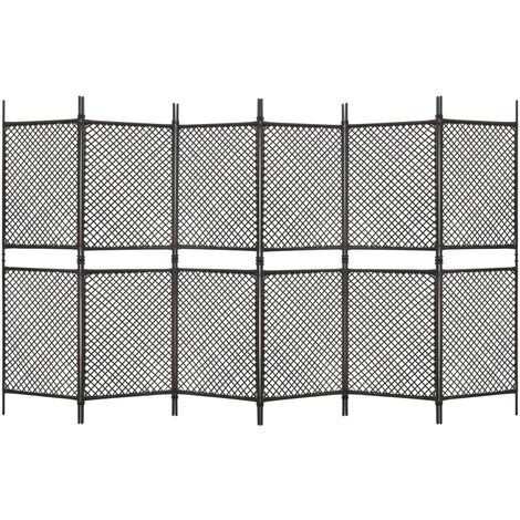 6-Panel Room Divider Poly Rattan Brown 360x200 cm