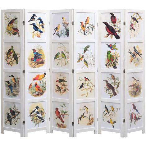 6-Panel Room Divider White 210x165 cm Bird