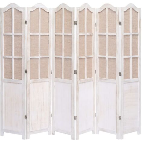 6-Panel Room Divider White 210x165 cm Fabric