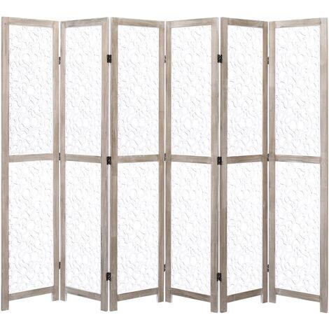6-Panel Room Divider White 210x165 cm Solid Wood