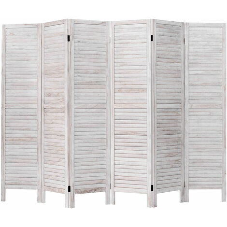 """main image of """"6 Panel Wooden Slat Room Divider Home Privacy Change Screen Folding Home Office White"""""""