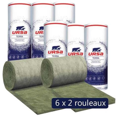 6 paquets de 2 rouleaux laine de verre URSA Façade 35 R - Ep. 200mm - 21.60m² - R 5.70
