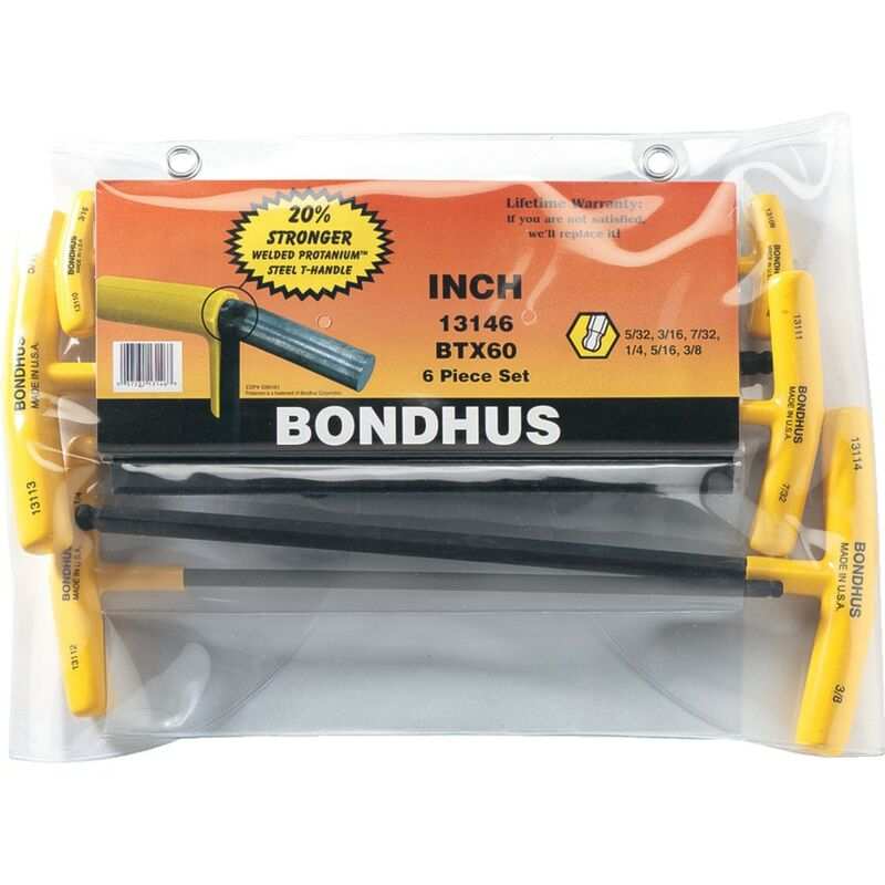 Image of 6-Pce A/F T-handled Ball Driver Set - Bondhus