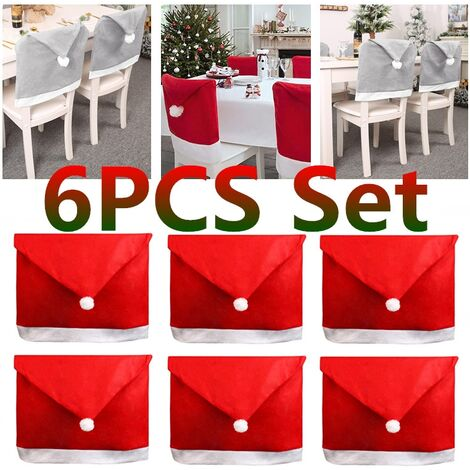 [6 Pcs] 1/2/4/6 Pcs Set Christmas Chairs Cover Back Cover Santa Dinner Table Party Decor Gifts 25.6X19.7 Inches / 22.8X19.3 Inches