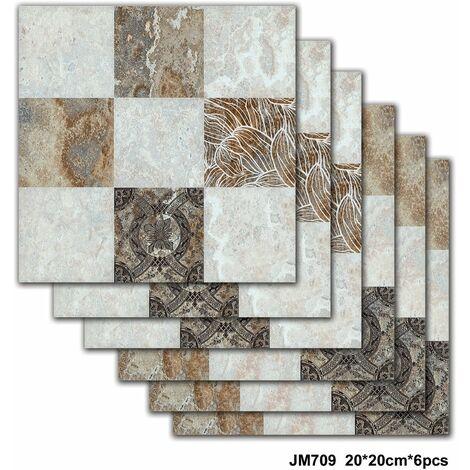 6 PCS 20*20cm Papier Peint carrelage auto-adhésif antidérapant salle de bain cuisine déco mur escalier