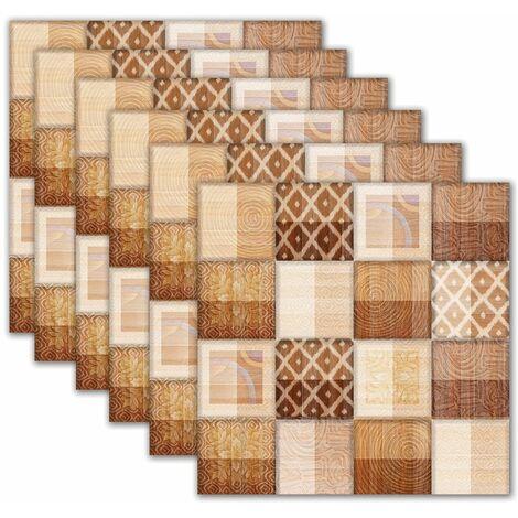 6 PCS 20*20cm Papier Peint carrelage auto-adhésif antidérapant salle de bain cuisine déco mur escalier (type D)