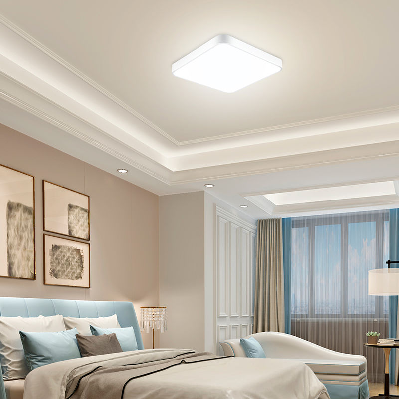 6 PCS 24W Ultra Thin Square LED Niedrige Deckenleuchte Badezimmer Küche Wohnzimmer Lampe Tageslicht / Warmweiß Dimmbar