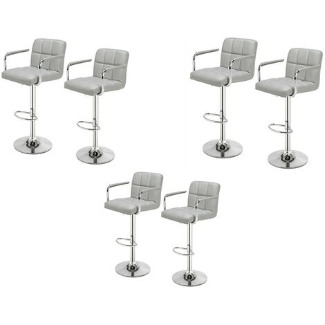 """main image of """"6 pcs bar stool kitchen breakfast chair with backrest armrest adjustable height swivel modern indoor chair Gray - Gray"""""""