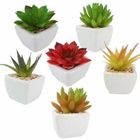 6 PCS Bonsaï artificielles plantes succulentes décoratives avec pots Mini fausses Vert bureau table basse balcon Cadeau decor