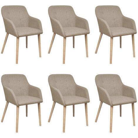 6 pcs Chaises de salle à manger Beige Tissu et chêne massif