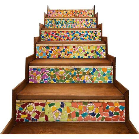 6 Pcs Escalier Stickers, Carrelage Sticker DIY Autocollant, Imperméable Amovible Sticker pour Décoration Escalier Cuisine Salle de Bain Murale,18x100 cm (C)