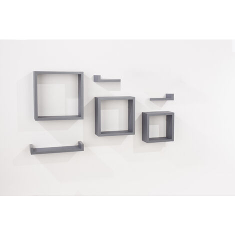 6 pcs floating shelf kit - matt grey foil