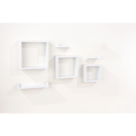 6 pcs floating shelf kit - matt white foil