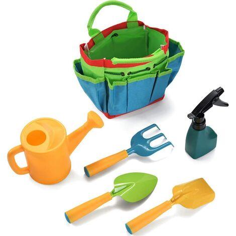 6 Pcs Kids Gardening Tools Set, Watering Kettle Shovel Rake with Carrying Bag, Garden Toys Gift for Baby Preschool Boys Girls - As Image Show, 6 pcs