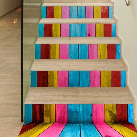 6 Pcs / Set 3D Wooden Stairs Art Sticker Wall Sticker Vinyl Art Home Decor