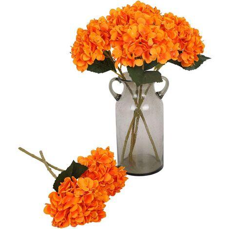 6 Pcs Soie Hortensia Fleurs Artificielles Réaliste Hortensia Fleurs Bouquet pour Fête De Mariage Bureau Décor À La Maison (Orange)