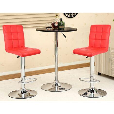 6 pcs tabouret de bar chaise longue comptoir bar chaise cuisine tabouret dinant - Rouge