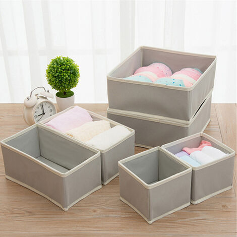 6 pcs Wardrobe Organiser Underwear Bra Socks Storage Boxes Closet Drawer Divider