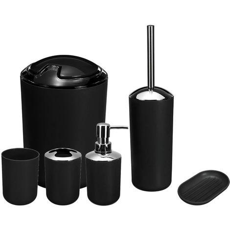 6 Piece Bathroom Accessory Set - Black Bin Toothbrush Soap Holder Dispenser
