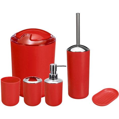 6 Piece Bathroom Accessory Set - Red Bin Toothbrush Soap Holder Dispenser