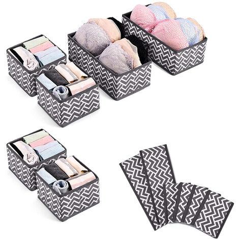"main image of ""6 Piece Dresser Drawer Organizer Set, Closet Storage Bins Fabric Storage Cubes Foldable Drawer Containers for Underwear, Bras, Socks, Ties, Scarves, Panties"""