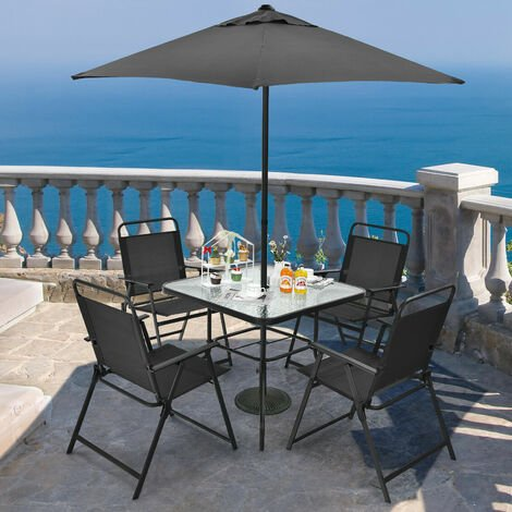 "main image of ""6 Piece Garden Furniture Patio Set Dining Table Parasol & 4 Folding Chair Seats"""
