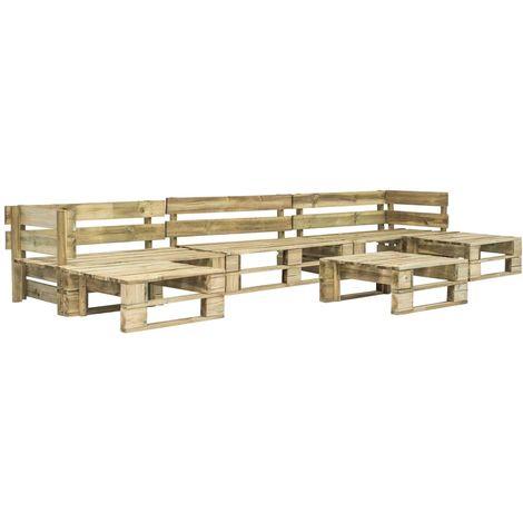 6 Piece Garden Lounge Set Pallets FSC Wood Green