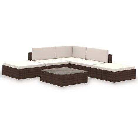 e80296e5bebd 6 Piece Garden Lounge Set with Cushions Poly Rattan Brown -