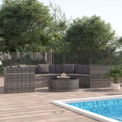 6 Piece Garden Lounge Set with Cushions Poly Rattan Grey (UK/IE/FI/NO Only)