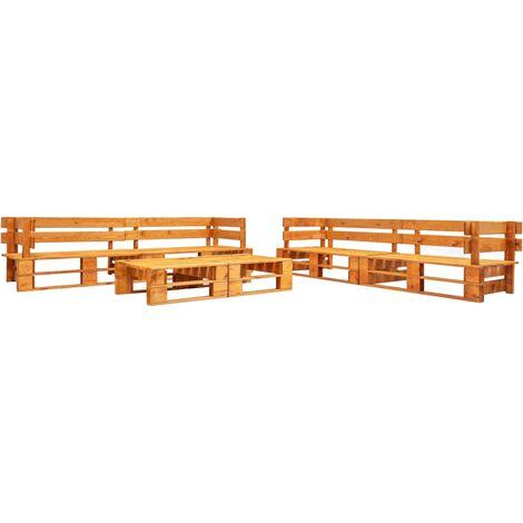 6 Piece Garden Pallet Lounge Set Wood Honey Brown