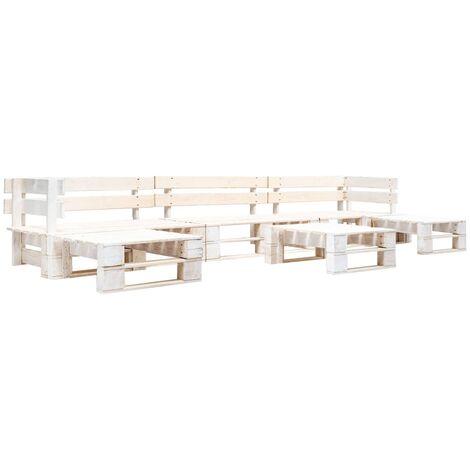 "main image of ""6 Piece Garden Pallet Lounge Set Wood White - White"""