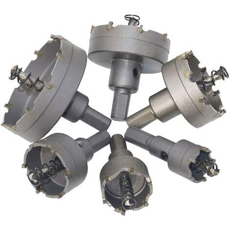 6 Pièce grand Scies-cloches Drill TCT à métaux Coffret de Scies-Cloches Adaptateur pour Forage Scie pour le plastique, acier inoxydable, métal, bois