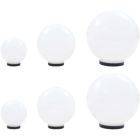 6 Piece LED Bowl Lamp Set Spherical 20/30/40 cm PMMA