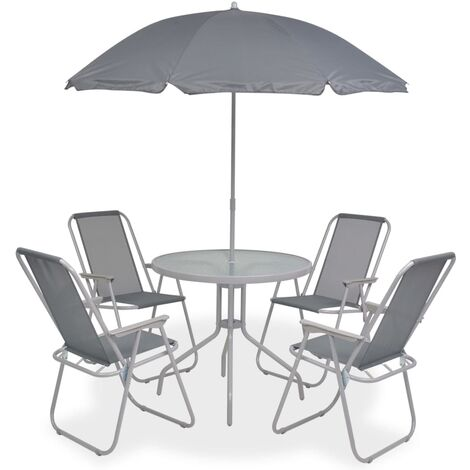 6 Piece Outdoor Dining Set Steel and Textilene Grey