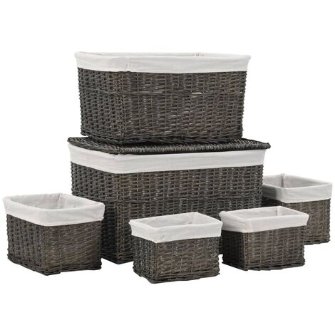 6 Piece Stackable Basket Set Grey Natural Willow