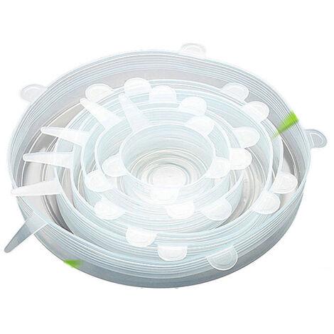 6 pieces couvercles extensibles en silicone enveloppent ensemble de joints hermetiques transparents differentes tailles couvercle reutilisable pour bol tasses canettes conteneur,modele:Transparent