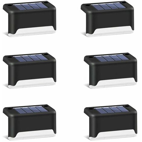 6 pièces de lumières d'escalier de jardin solaire clôture de jardin extérieur décoration de paysage lumières de marche solaires