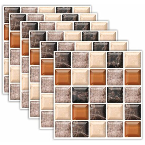 6 pièces / ensemble carrelage de sol d'escalier mural de cuisine déco de salle de bain auto-adhésif antidérapant (type D 6PCS)