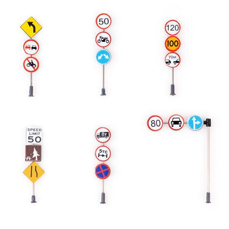 6 Pieces Ensemble De Panneaux De Signalisation Panneaux De Signalisation A L'Echelle Des Signaux De Modele Parfait Pour Planifier La Ville Et Le Train